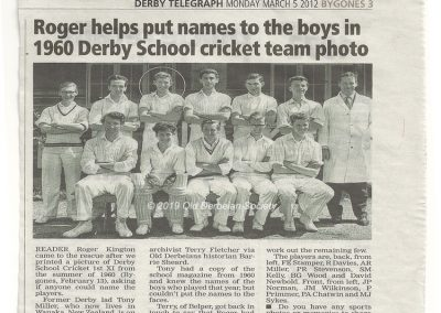 1st XI cricket team 1960