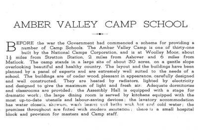 Amber Valley Camp 1940 description page 1