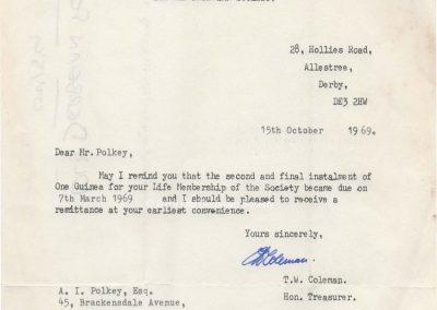 Andrew Polkey - subscription letter 1969