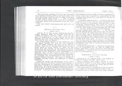 Arthur Charles FRY The Derbeian April 1917