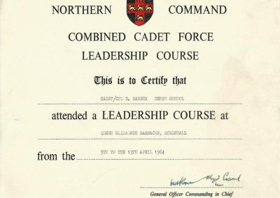 Barrie Barber - Leadership Course Certificate April 1964