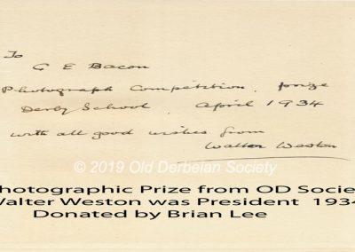 Brian Lee - Prize donation book 1934