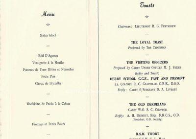 Cadet Corps Centenary Dinner 16 July 1962 Menu