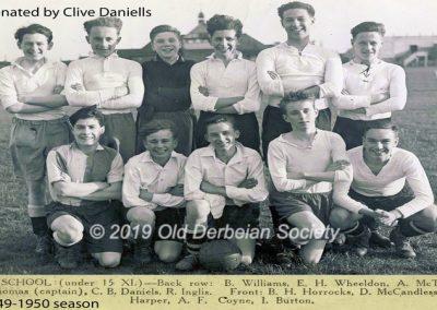 Clive Daniells - Under 15 Football Team 1949-50