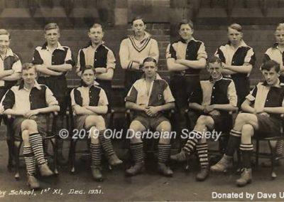 Dave Upton - Derby School 1st XI Dec 1931