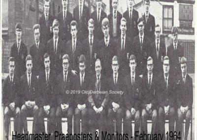 Derbeian - Headmaster, Praeposters & Monitors Feb 1964