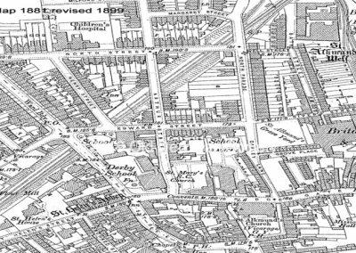 Derby Grammar School map 1881 Revised 1899