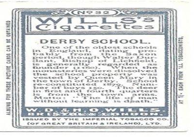 Derby School Coat of Arms Cigarette Card-reverse 1906