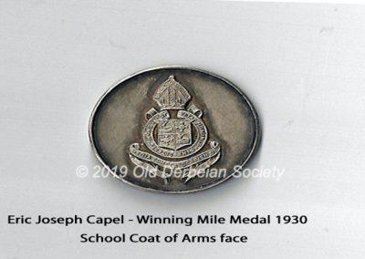 Eric Joseph Capel - winning Mile Medal 1930 - main face