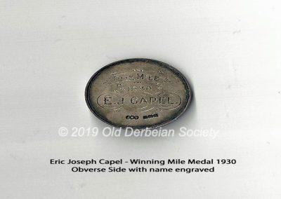 Eric Joseph Capel - winning Mile medal 1930 - obverse face