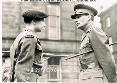 Frank Shekleton CSM with Brigadier F.L.Saunders 1956