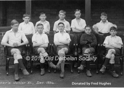 Fred Hughes - Derby School - Tanner's Junior XI Dec 1934