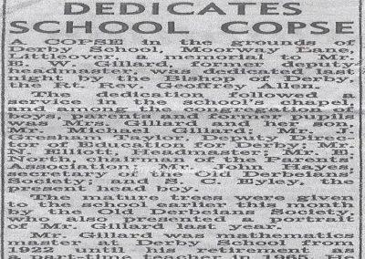 Gillard copse dedication 1968
