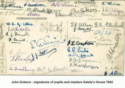 John Dobson - Signatures of Gately's House 1942