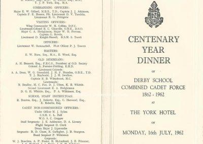 Nick Bradley - Cadet Corps Centenary Dinner 1962 plus attendees