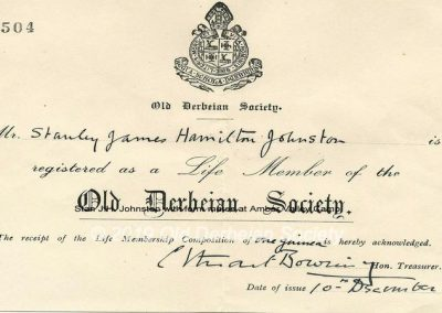 Stan J. H. Johnston OD Society receipt 1948