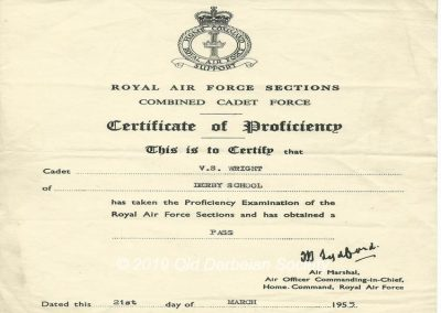 Vic S. Wright - RAF Certificate of Proficiency 1955